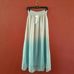 Keysha Two-tone 100% Silk Long Skirt Size M Italy